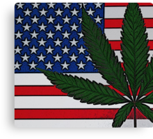 Americana Cannabis Flag Canvas Print