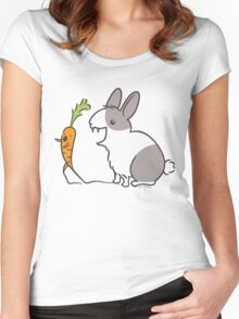 Vampire Bunny Rabbit with Unfortunate Carrot Women's Fitted Scoop T-Shirt