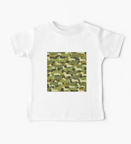 Distressed Camo Dachshund Silhouettes  Baby Tee