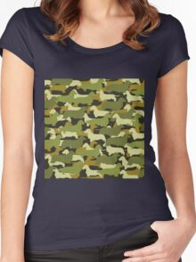 Distressed Camo Dachshund Silhouettes  Women's Fitted Scoop T-Shirt