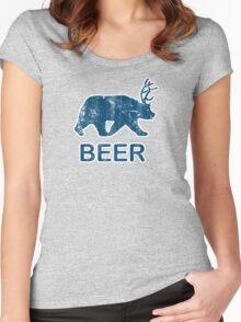 Vintage Beer Bear Deer Women's Fitted Scoop T-Shirt