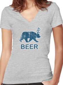 Vintage Beer Bear Deer Women's Fitted V-Neck T-Shirt