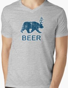 Vintage Beer Bear Deer Mens V-Neck T-Shirt