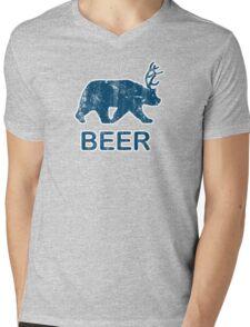 Vintage Beer Bear Deer Mens V-Neck T-Shirt