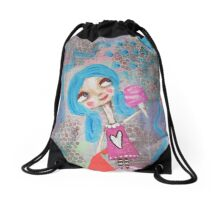Cotton Candy Makes Me Happy Drawstring Bag