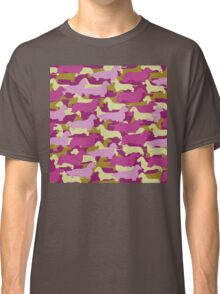 Distressed Camo Dachshund Silhouettes - Smooth, Wire, Long, Hair, Coat, Longhair, Wirehair Classic T-Shirt
