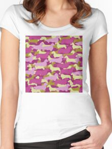 Distressed Camo Dachshund Silhouettes - Smooth, Wire, Long, Hair, Coat, Longhair, Wirehair Women's Fitted Scoop T-Shirt