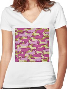 Distressed Camo Dachshund Silhouettes - Smooth, Wire, Long, Hair, Coat, Longhair, Wirehair Women's Fitted V-Neck T-Shirt