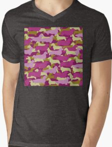 Distressed Camo Dachshund Silhouettes - Smooth, Wire, Long, Hair, Coat, Longhair, Wirehair Mens V-Neck T-Shirt