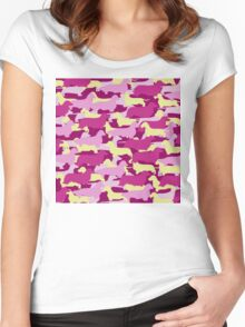 Camo Dachshund Silhouettes - Smooth, Wire, Long, Hair, Coat, Longhair, Wirehair Women's Fitted Scoop T-Shirt