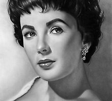Elizabeth Taylor Tribute drawing by John Harding