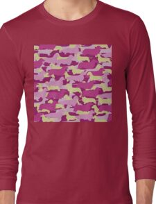 Distressed Camo Dachshund Silhouettes - Smooth, Wire, Long, Hair, Coat, Longhair, Wirehair Long Sleeve T-Shirt