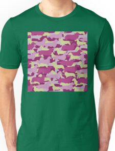 Distressed Camo Dachshund Silhouettes - Smooth, Wire, Long, Hair, Coat, Longhair, Wirehair Unisex T-Shirt
