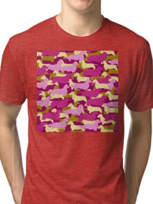Camo Dachshund Silhouettes - Smooth, Wire, Long, Hair, Coat, Longhair, Wirehair Tri-blend T-Shirt