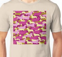 Camo Dachshund Silhouettes - Smooth, Wire, Long, Hair, Coat, Longhair, Wirehair Unisex T-Shirt