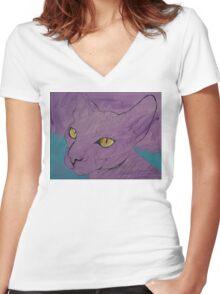 Purple Sphynx Women's Fitted V-Neck T-Shirt