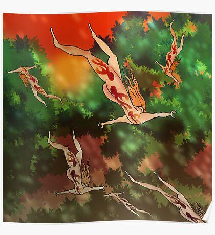 Falling through trees 1 Poster