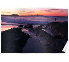 Sunset at Currumbin Rock, Queensland Poster