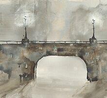 Greeting Card - Bridge at Night Time - Glasgow, Watercolour - Sam Austrin-Miner by Sam Austrin-Miner
