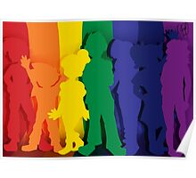 Friends Around the Corner - Rainbow shilouettes Poster