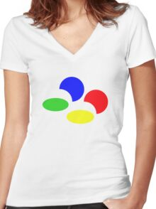 Super Famicon Women's Fitted V-Neck T-Shirt