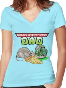 World's Greatest Sensei Dad Women's Fitted V-Neck T-Shirt