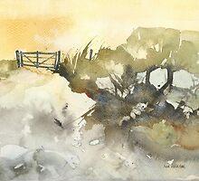 Greeting Card - Bundarra Road, New England Watercolour - Sam Austrin-Miner by Sam Austrin-Miner