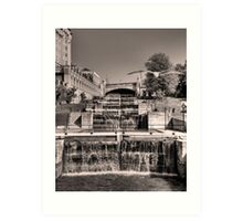 Rideau Canal Lockstations (BW) - UNESCO World Heritage Site Art Print