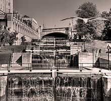 Rideau Canal Lockstations (BW) - UNESCO World Heritage Site by JamesA1