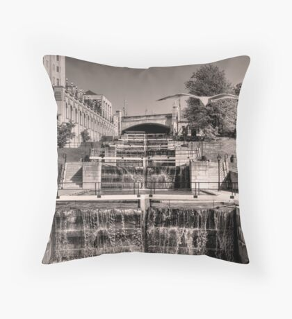 Rideau Canal Lockstations (BW) - UNESCO World Heritage Site Throw Pillow