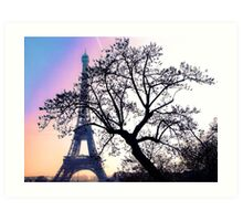 sunset at the Tour Eiffel Art Print