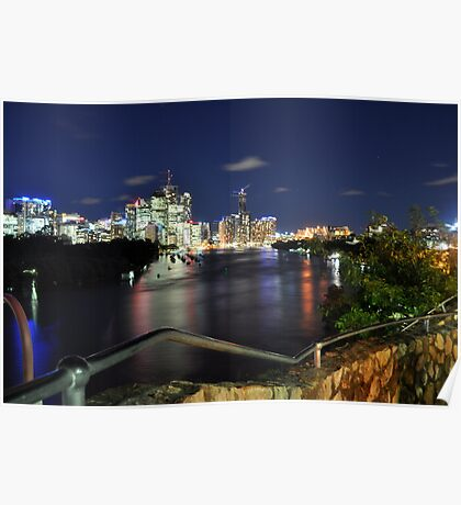Brisbane City - Cityscape at Night Poster