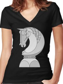 Chess Knight Women's Fitted V-Neck T-Shirt