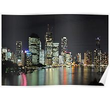 Brisbane City - Cityscape at Night Poster