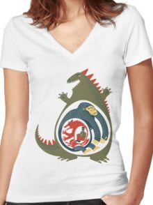 Monster Food Chain Women's Fitted V-Neck T-Shirt