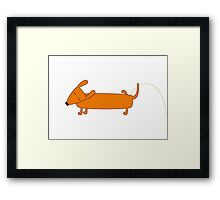 Cute pissing dachshund Framed Print
