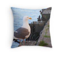 Posing Seagull Throw Pillow