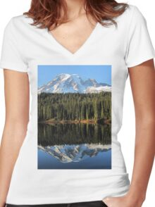 Reflection of Mount Rainier Fall 2013 Women's Fitted V-Neck T-Shirt