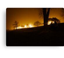 Fog fell along the river Canvas Print
