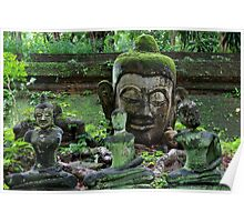 Ancient Buddha images, Wat Umong, Thailand Poster