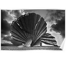 Aldeburgh Scallop. Shell Sculpture. Poster