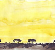Wildebeest against the Sunset by Maree Clarkson