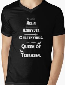 Queen of Terrasen (White on Black) Mens V-Neck T-Shirt