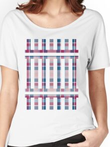 Blue Red Pink Plaid Women's Relaxed Fit T-Shirt