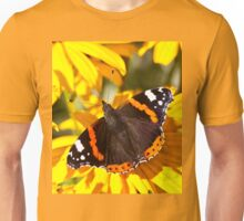 Red Admiral;Yellow Flower Unisex T-Shirt