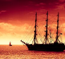 Sailing to red sunset by Plrang GFX
