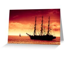 Sailing to red sunset Greeting Card