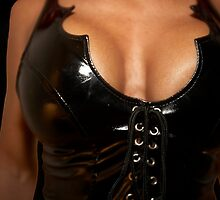 woman in black corset by focusedone