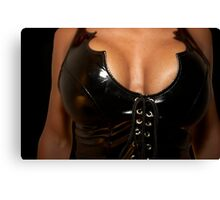 woman in black corset Canvas Print
