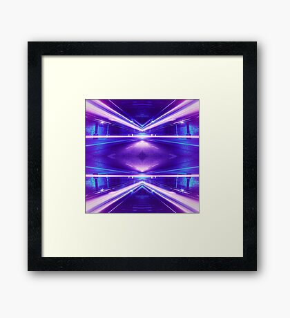 Geometric Street Night Light (HDR Photo Art) Purple Framed Print